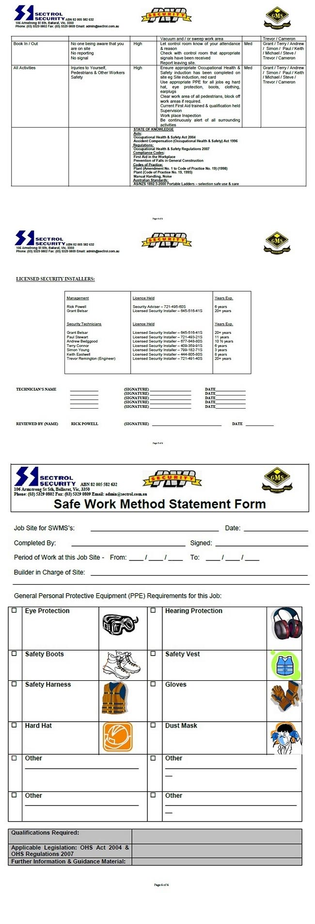 Safe Work Method Statement Installers Pg2